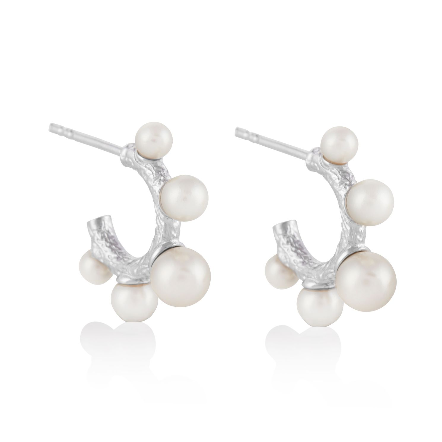 Olivia Burton Sterling Silver Faux Pearl 3/4 Hoop Earrings - Product number 4537793