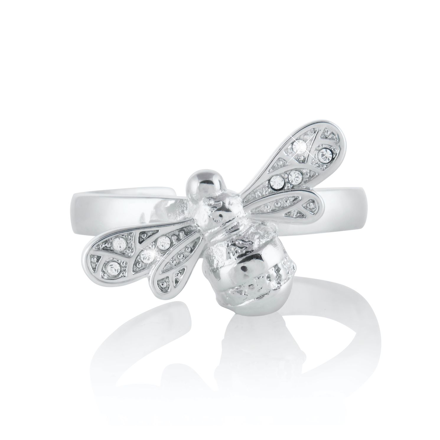 Olivia Burton Rhodium Plated Sparkle Bee Ring - Product number 4538544