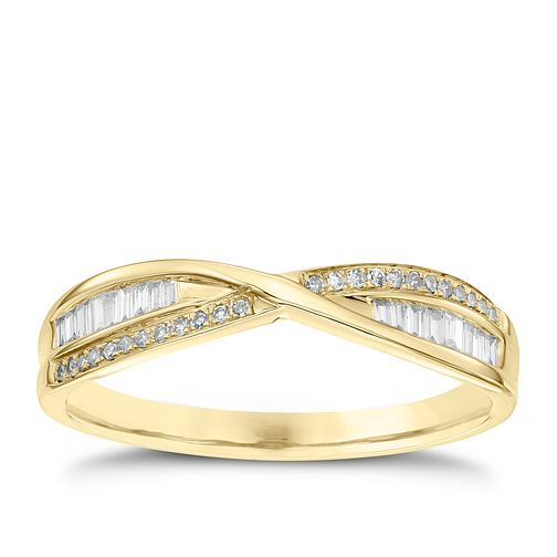 9ct Yellow Gold 0.15ct Diamond Crossover Ring - Product number 4539702