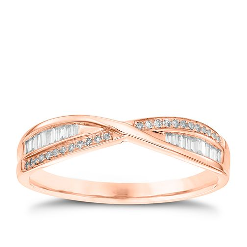9ct Rose Gold 0.15ct Diamond Crossover Ring - Product number 4539974