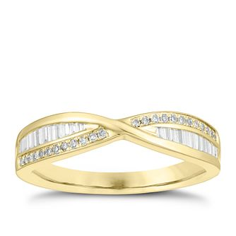 9ct Yellow Gold 1/5ct Diamond Crossover Ring - Product number 4540107