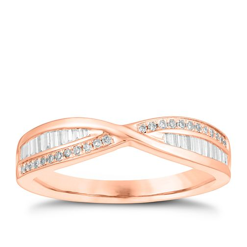 9ct Rose Gold 1/5ct Diamond Crossover Ring - Product number 4540379