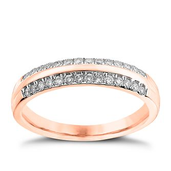 9ct Rose Gold 1/4ct Diamond Court Ring - Product number 4540506