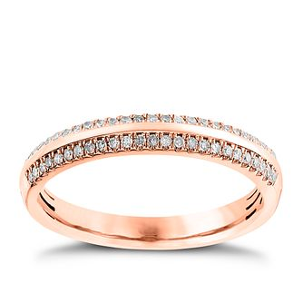 9ct Rose Gold 0.13ct Diamond Court Ring - Product number 4541294