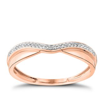 9ct Rose Gold Diamond Wave Ring - Product number 4542509