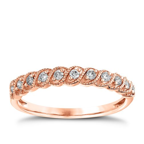 9ct Rose Gold 0.15ct Diamond Milgrain Ring - Product number 4542630