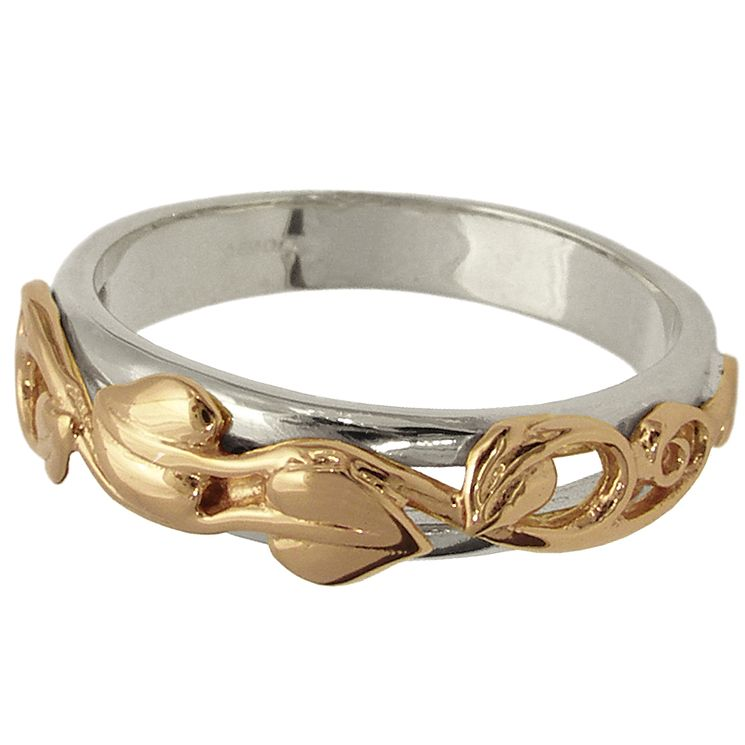 Clogau Gold 9ct Rose Gold and Silver Leaf Ring