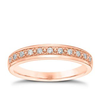 18ct Rose Gold 1/10ct Diamond Pave Ring - Product number 4543289