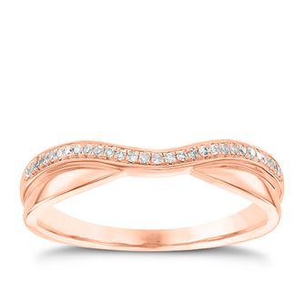 18ct Rose Gold Diamond Wave Ring - Product number 4543815