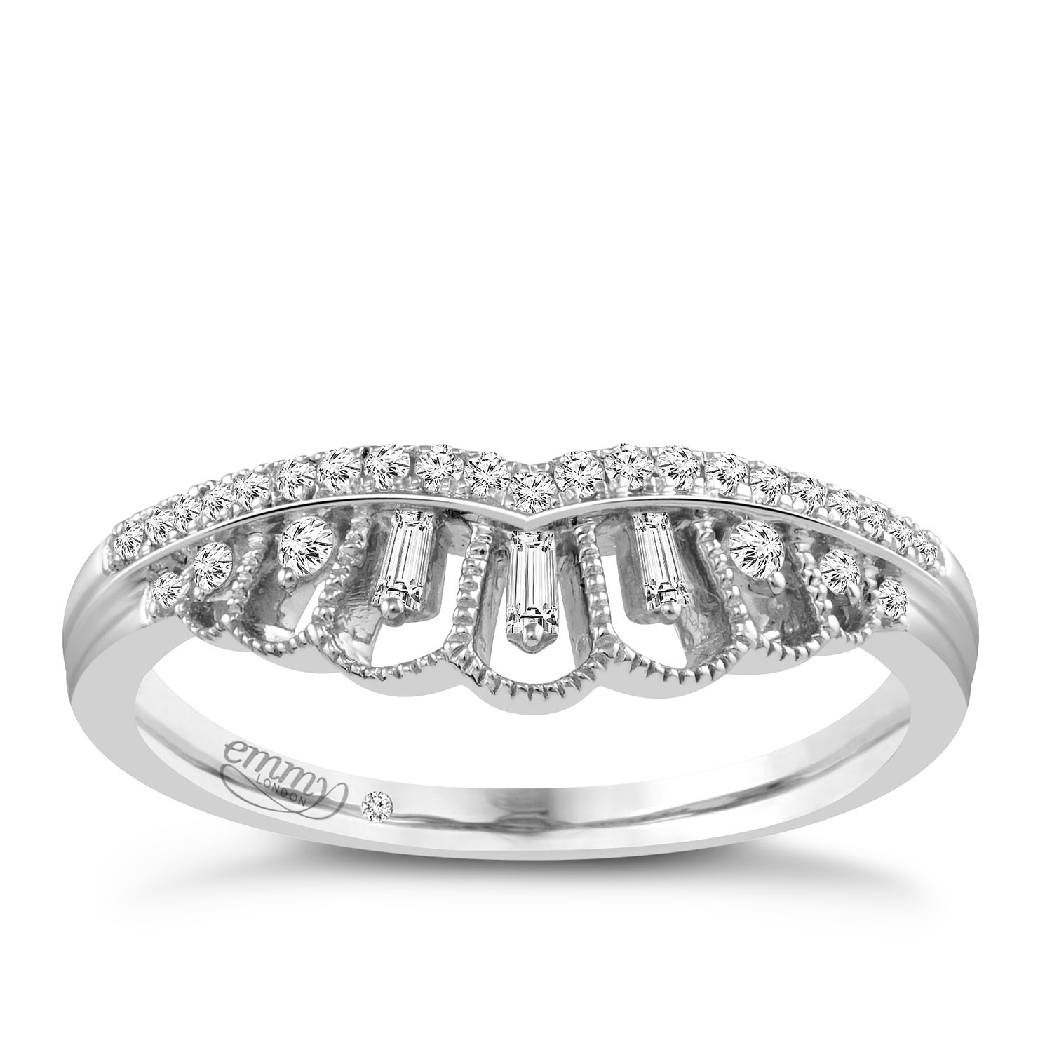 Emmy London Platinum 1/8 Carat Diamond Ring - Product number 4545494