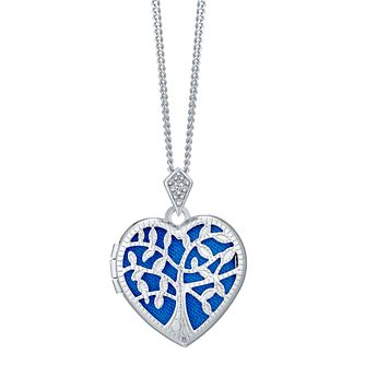 Sterling Silver Filigree Cubic Zirconia Heart Locket - Product number 4547233