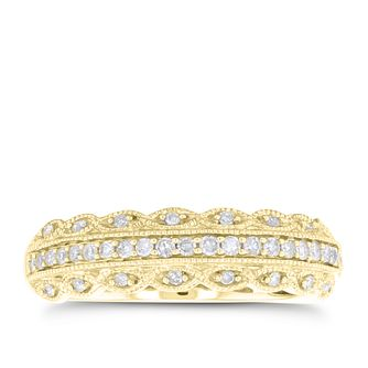 18ct Yellow Gold 1/4ct Diamond Milgrain Ring - Product number 4547837
