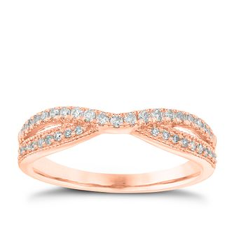 18ct Rose Gold 0.25ct Diamond Crossover Ring - Product number 4548647