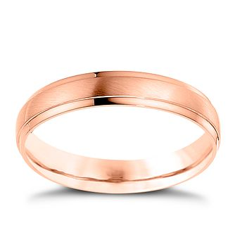 Palladium And 9ct Rose Gold 4mm Matt & Polished Ring - Product number 4550013
