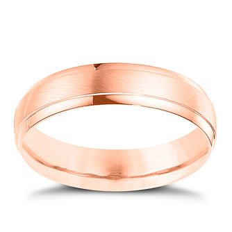 Palladium And 9ct Rose Gold 5mm Matt & Polished Ring - Product number 4550323