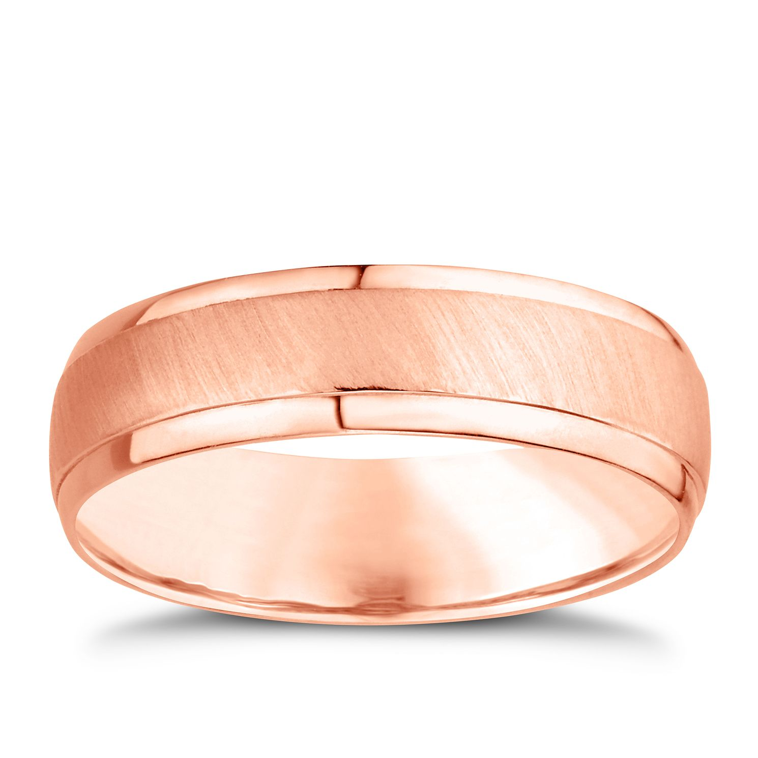 Palladium And 9ct Rose Gold 6mm Matt & Polished Ring - Product number 4550544