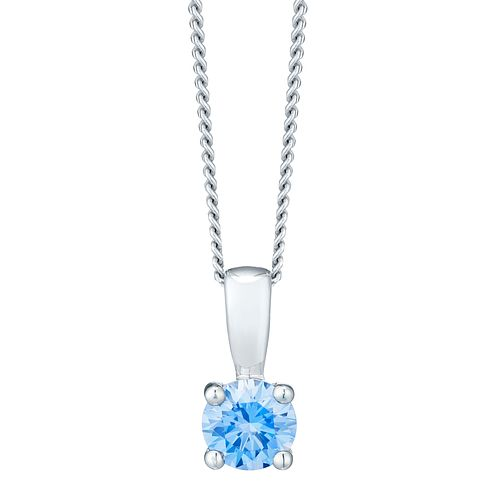 March Sterling Silver Blue Cubic Zirconia Pendant - Product number 4552024