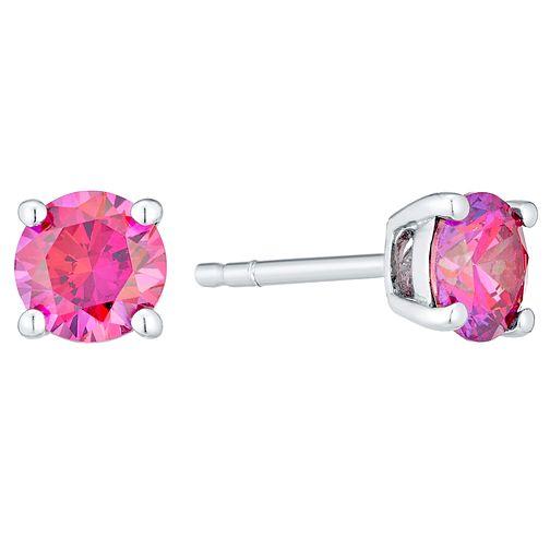 3ac0ea35a8de0 July Sterling Silver Pink Cubic Zirconia Stud Earrings