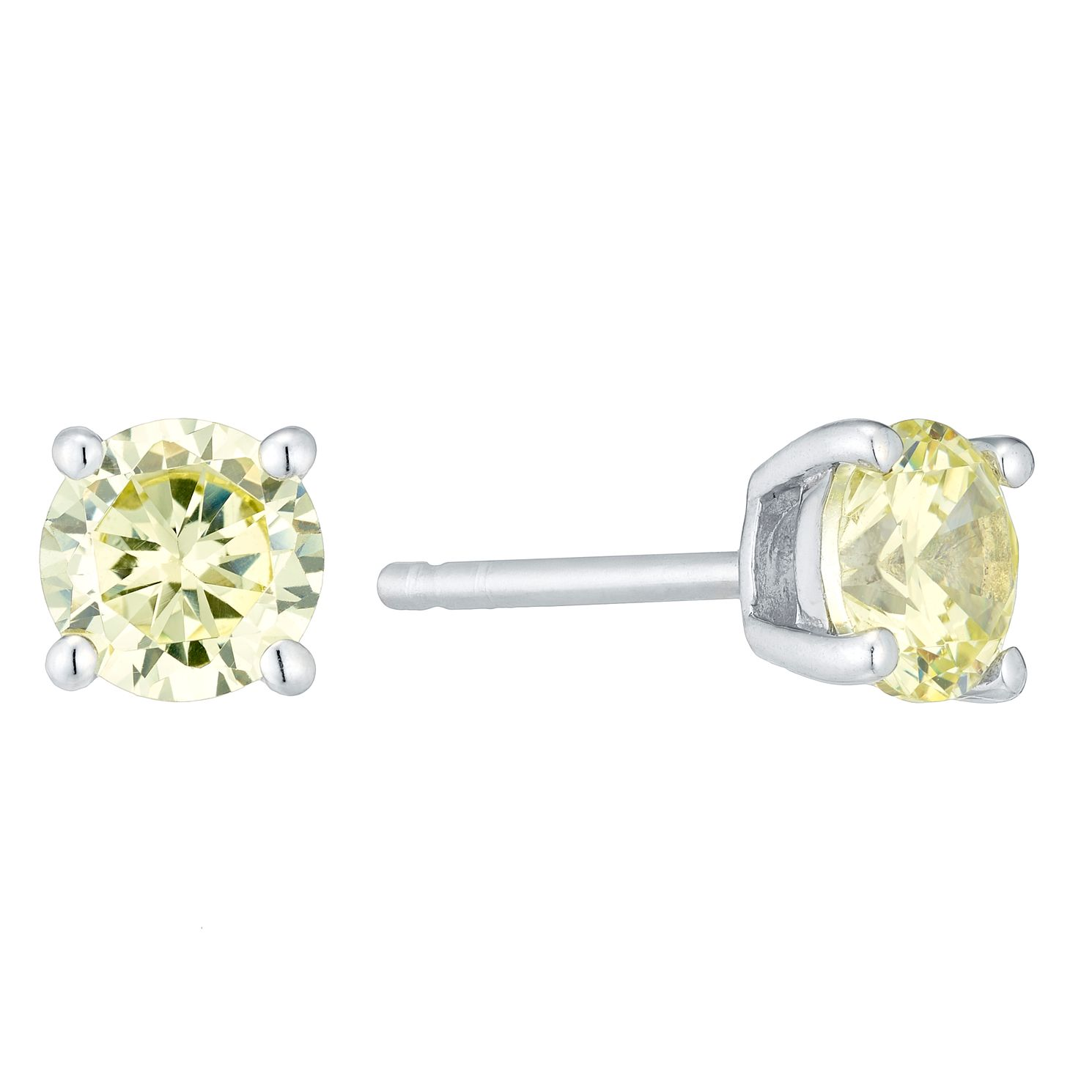 Sterling Silver Green Cubic Zirconia Stud Earrings - Product number 4552245