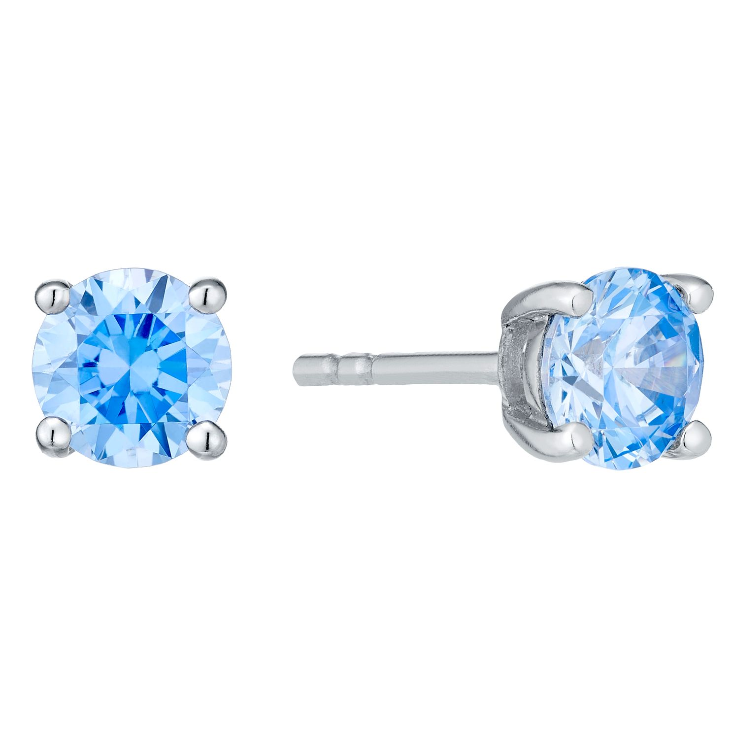 Sterling Silver Blue Cubic Zirconia Stud Earrings - Product number 4552350