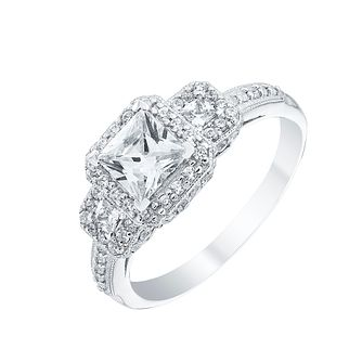 Sterling Silver Square Cubic Zirconia Trilogy Ring - Product number 4554612