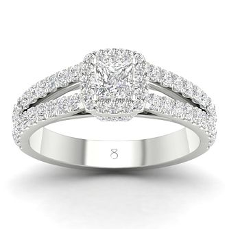 The Diamond Story 18ct White Gold 1ct Princess Halo Ring - Product number 4559665