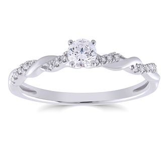 9ct White Gold 1/4ct Diamond Solitaire Twist Ring - Product number 4562410
