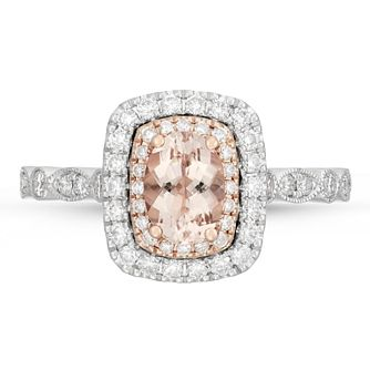 Neil Lane 14ct White And Rose Gold Diamond Morganite Ring - Product number 4563611