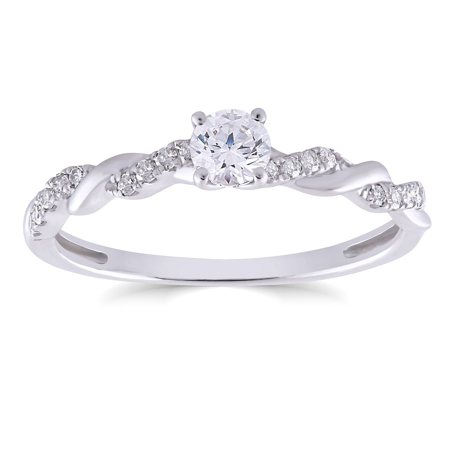 9ct White Gold 0.33ct Total Diamond Solitaire Twist Ring - Product number 4565614