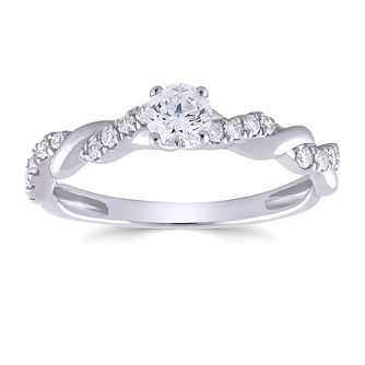 9ct White Gold 1/2ct Diamond Solitaire Twist Ring - Product number 4566254