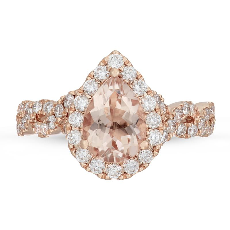 Neil Lane 14ct Rose Gold 0.69ct Pear Morganite Diamond Ring - Product number 4567005