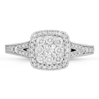 Neil Lane 14ct White Gold 0.69ct Cluster Diamond Ring - Product number 4567404