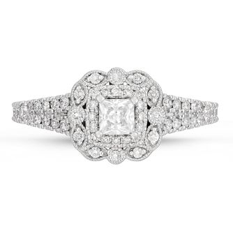 Neil Lane 14ct White Gold 0.68ct Princess Halo Ring - Product number 4567897