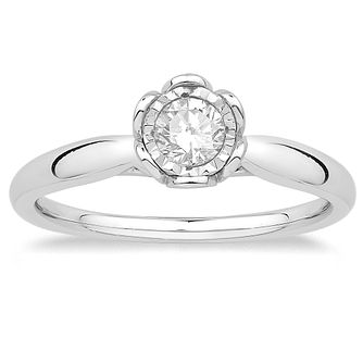 9ct White Gold 1/4ct Diamond Solitaire Flower Ring - Product number 4568273
