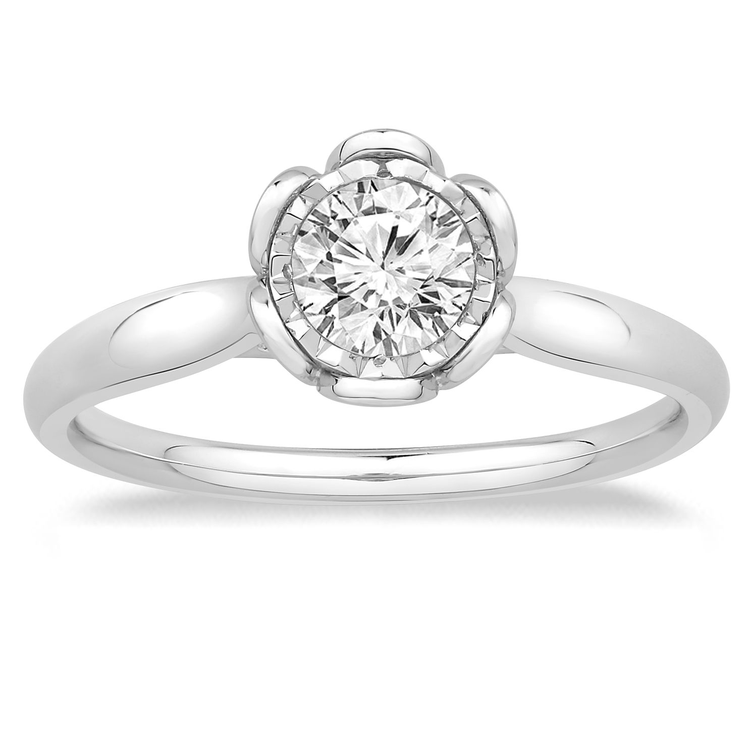 9ct White Gold 1/2ct Diamond Solitaire Flower Ring - Product number 4568621