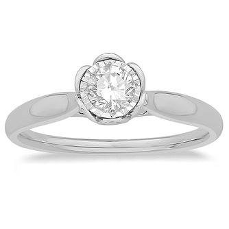 9ct White Gold 0.30ct Diamond Solitaire Flower Ring - Product number 4569032