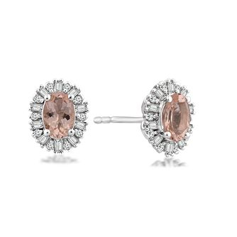 Emmy London 9ct White Gold Morganite 0.20ct Diamond Earrings - Product number 4569970