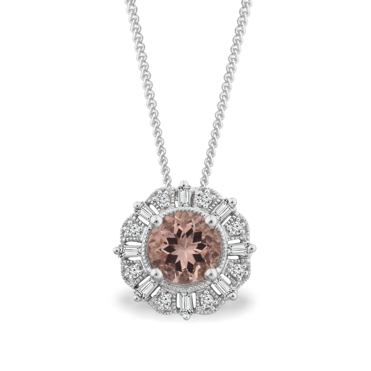 Emmy London 9ct White Gold Morganite 0.12ct Diamond Pendant - Product number 4570057