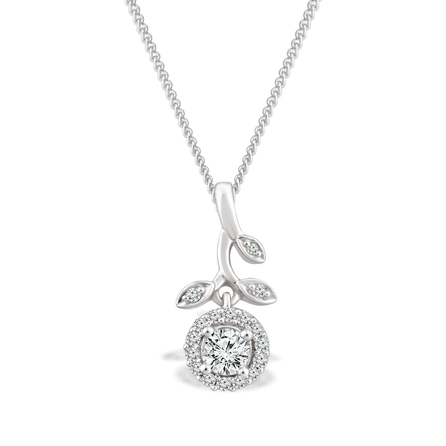 Emmy London 9ct White Gold 1/5ct Diamond Pendant - Product number 4570162