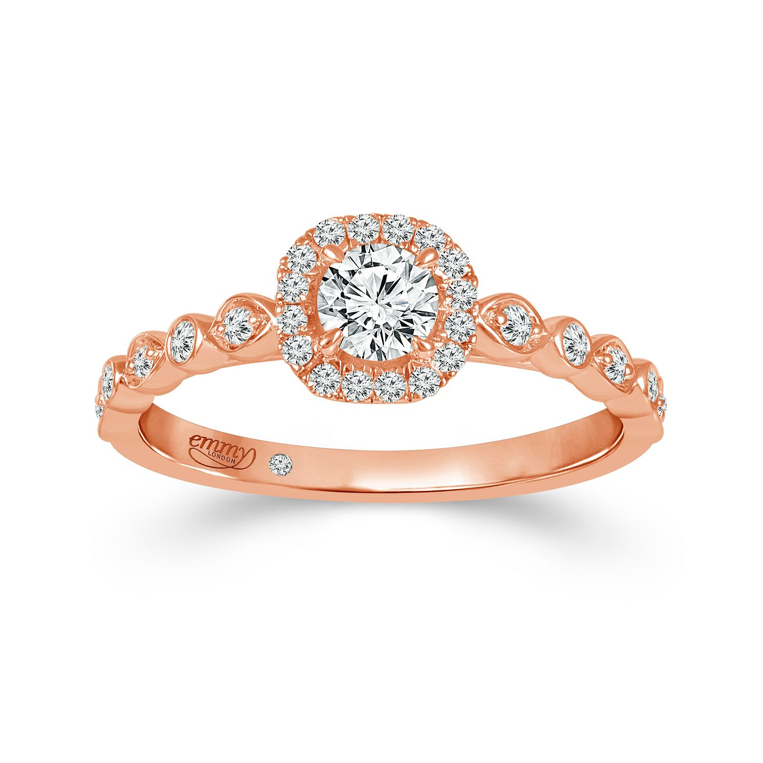 Emmy London 18ct Rose Gold 0.40ct Diamond Halo Ring - Product number 4571584
