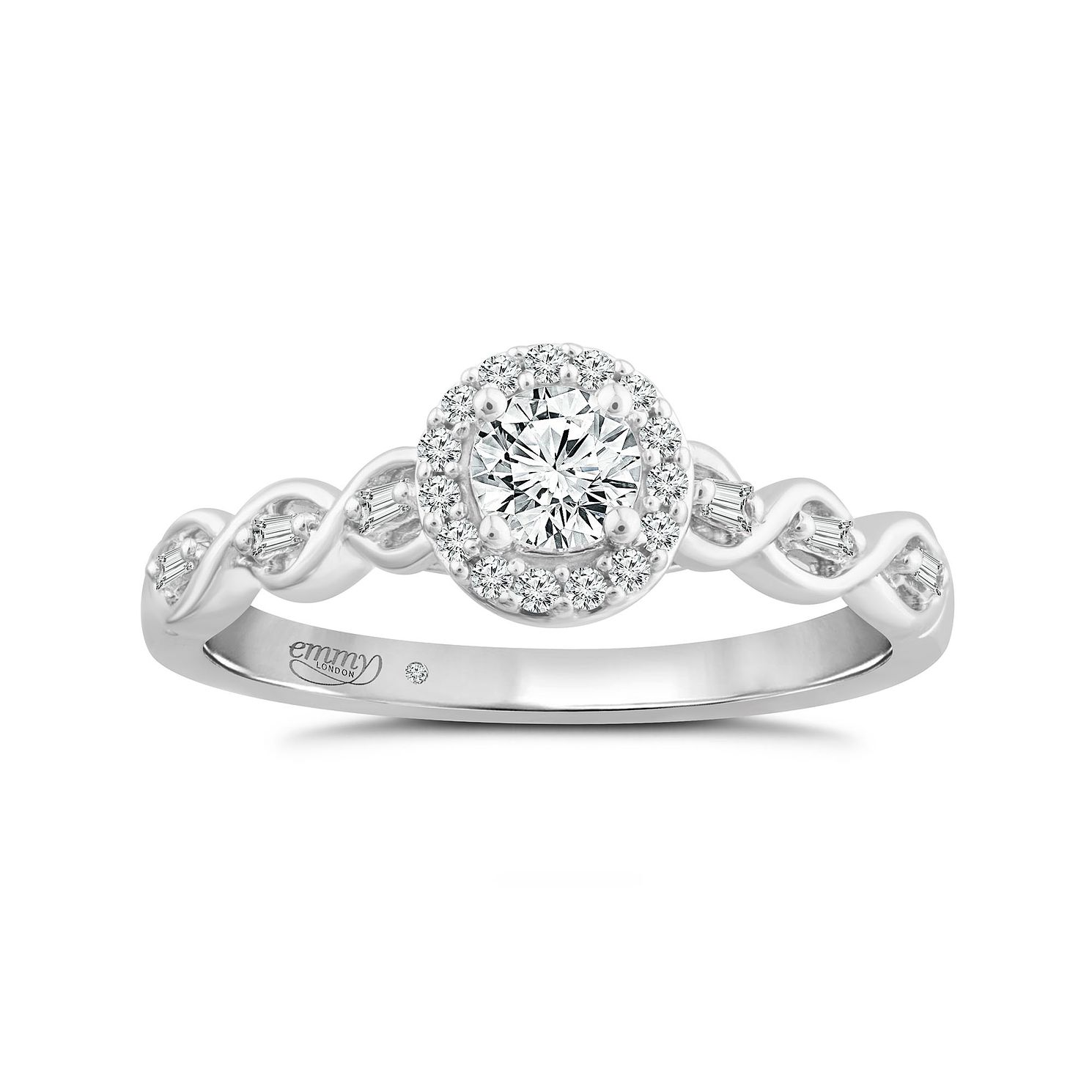 Emmy London 18ct White Gold 0.33ct Total Diamond Twist Ring - Product number 4571800