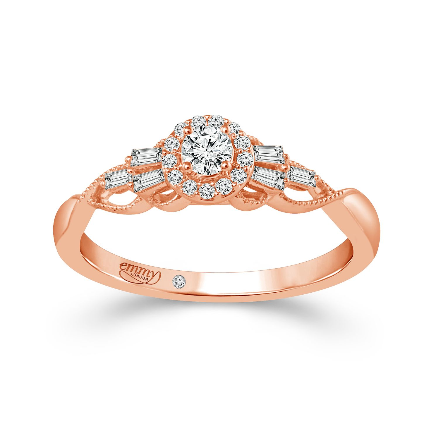 Emmy London 18ct Rose Gold 1/4ct Diamond Mix Cut Ring - Product number 4574168