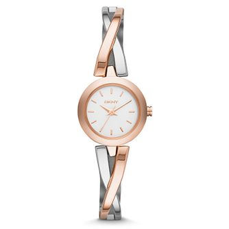 DKNY Ladies' Two Colour Stainless Steel Bangle Watch - Product number 4574273