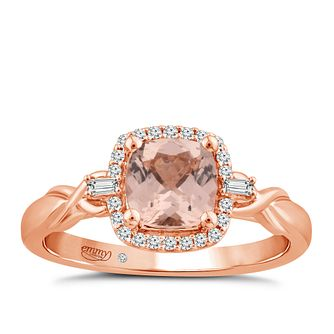 Emmy London 18ct Rose Gold Morganite & 1/10ct Diamond Ring - Product number 4574893