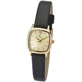 Accurist Ladies' Tonneau Dial Black Leather Strap Watch - Product number 4575172