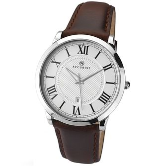 Accurist Men's Silver Dial Brown Leather Strap Watch - Product number 4575245