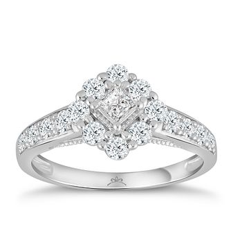 Princessa 9ct White Gold 2/3ct Diamond Cluster Ring - Product number 4576012