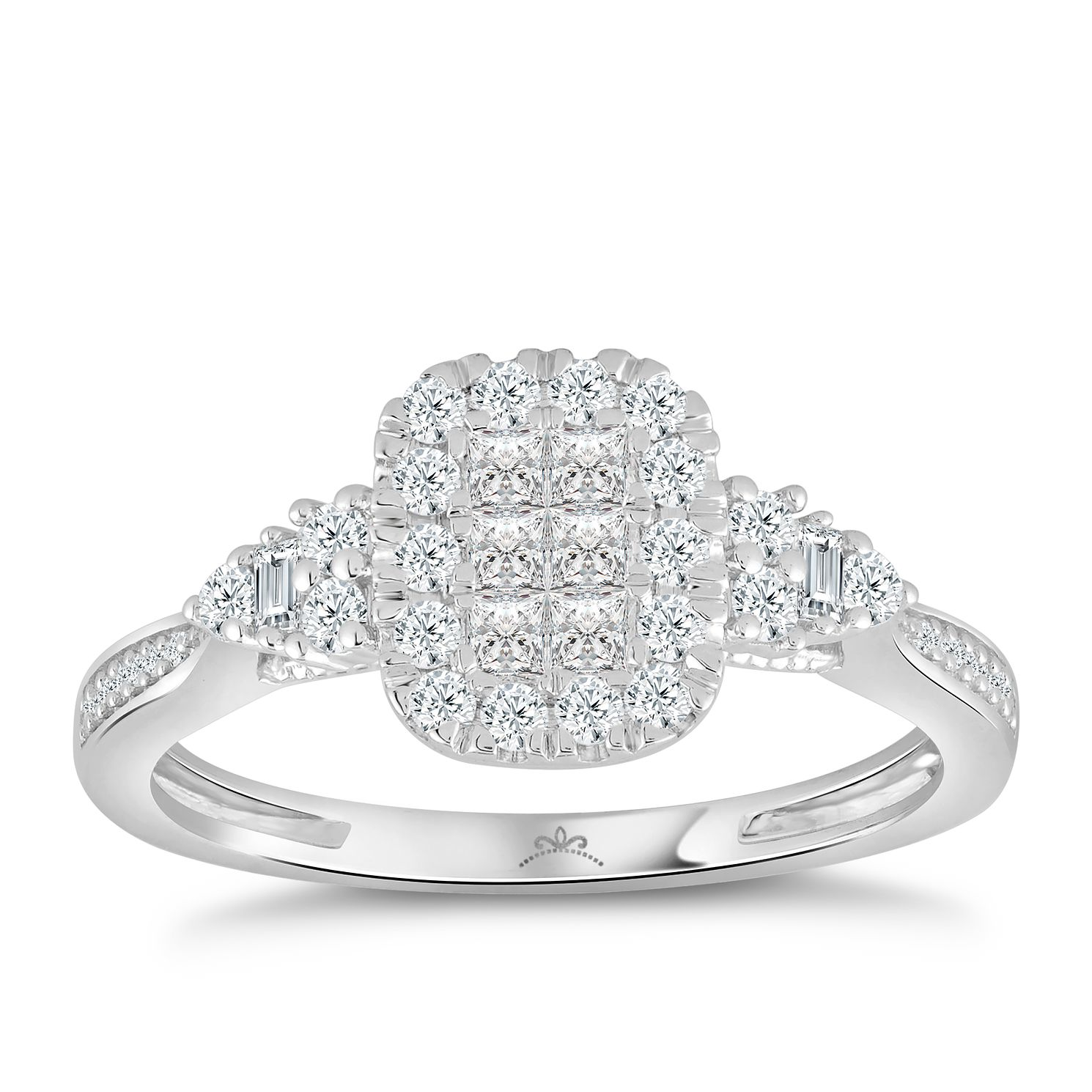 Princessa 9ct White Gold 0.50ct Diamond Cluster Ring - Product number 4576551