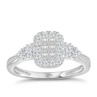 Princessa 9ct White Gold 1/2ct Diamond Cluster Ring - Product number 4576551