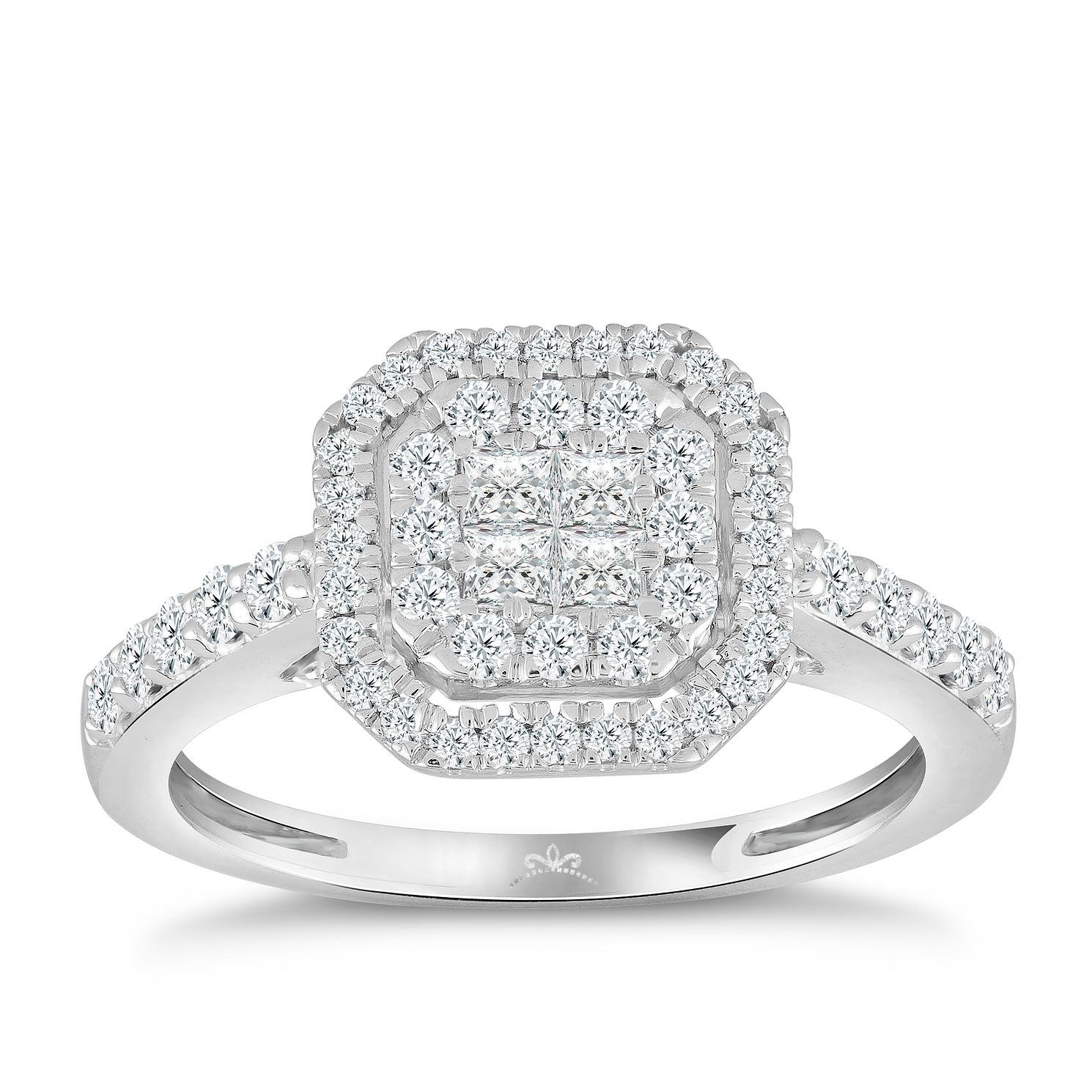 Princessa 9ct White Gold 0.66ct Diamond Cluster Ring - Product number 4576799